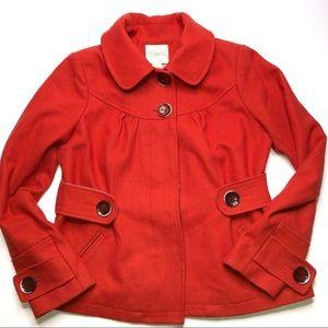 Anthropologie Cidra Wool Orange Pea Coat 12